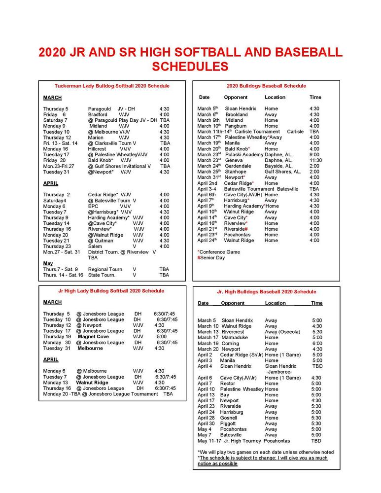 2020 Jr. & Sr, Baseball/Softball Schedules