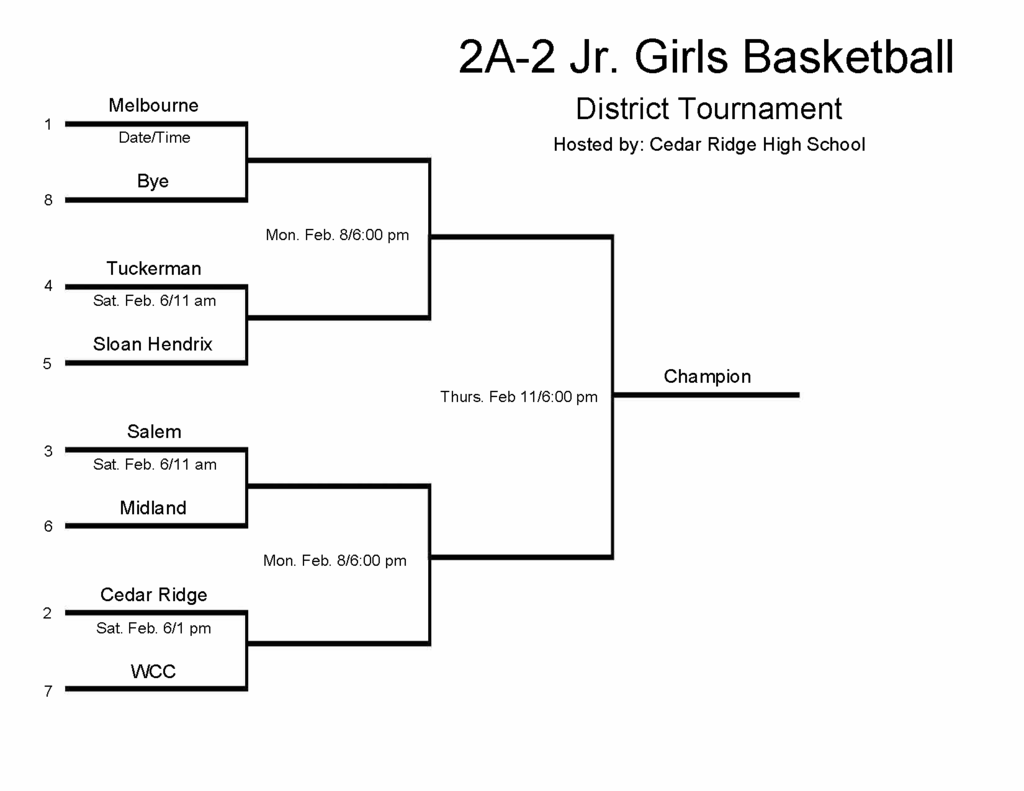 Jr Girls Bracket