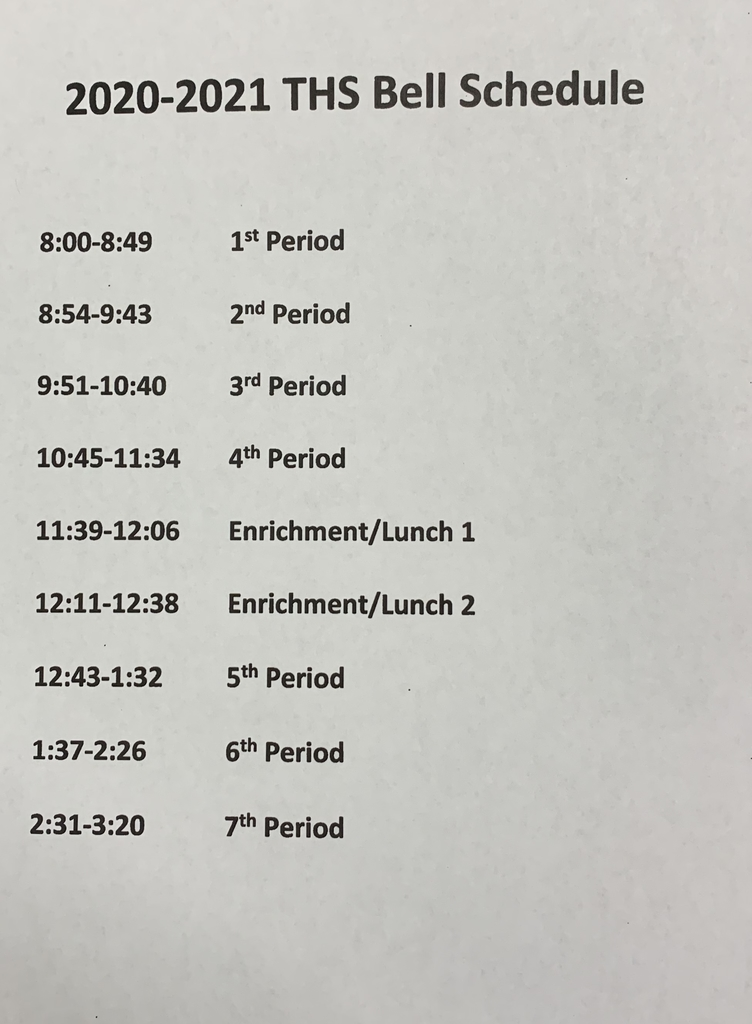 High School Bell Schedule for 2020-21